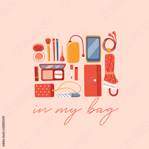 Girly personal items isolated on pastel background : Vector Illustration Fototapet