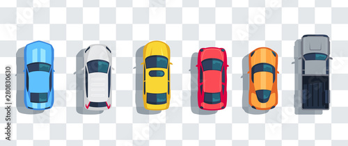Fotografie, Obraz Cars set from above, top view isolated