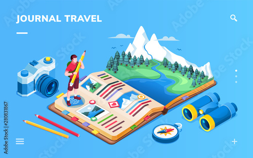 Isometric screen for travel journal or expedition photo album scrapbook, tourism memory book or journey planning organizer application. Mountain and forest, river and compass, camera. Smartphone app