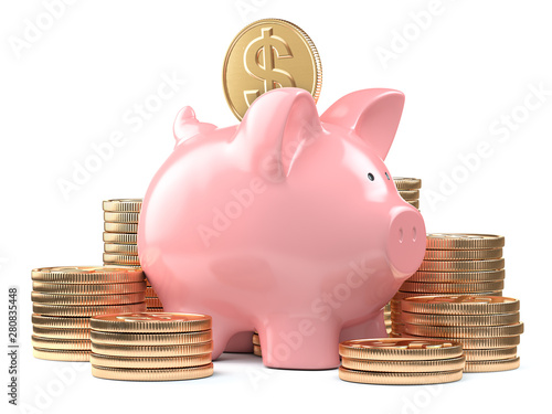 Fotografija Piggy bank and stacks of golden coins isolated on white