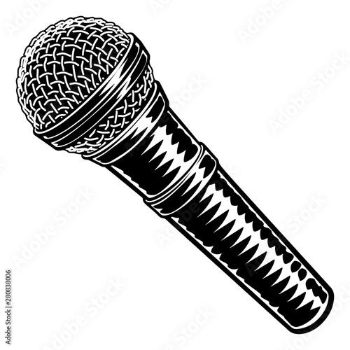 Obraz na płótnie Microphone or mic in a vintage intaglio woodcut engraved or retro propaganda sty