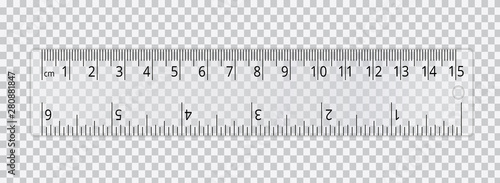 Photo Vector realistic school ruler isolated on transparent background