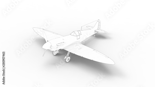 Photo 3d rendering of a world war two fighter airplane isolated in white background