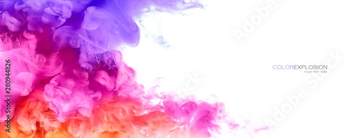 Fotografie, Tablou Rainbow of Ink in water. Color Explosion. Paint Texture