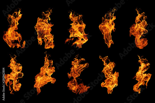 Fotografie, Obraz Fire flames collection isolated on black background, movement of fire flames