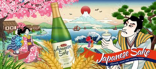 Photo Ukiyo e style Japanese sake ads