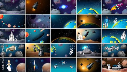 Fotografia Large set of different space scenes
