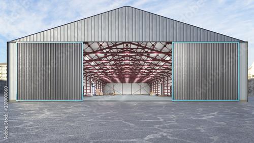 Fotografia Hangar exterior with open gate. 3d illustration