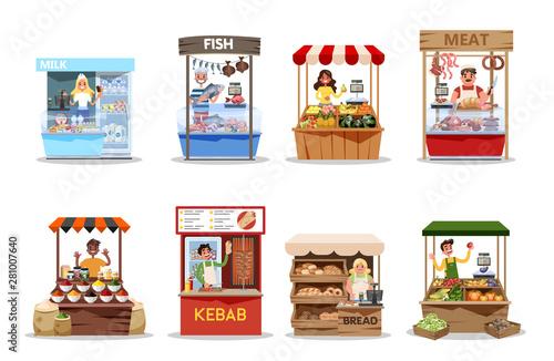 Fototapeta Food market set. Product from farm, fresh healthy