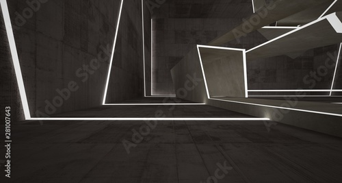 Fotografia Abstract brown and beige  concrete interior with neon lighting