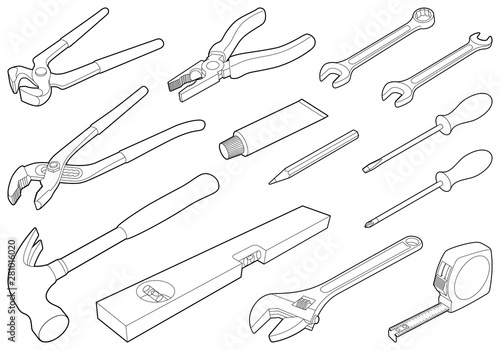 Construction tool collection - vector isometric outline illustration Fototapeta