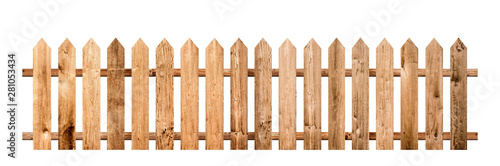 Fotografie, Tablou Brown wooden fence isolated on a white background that separates the objects