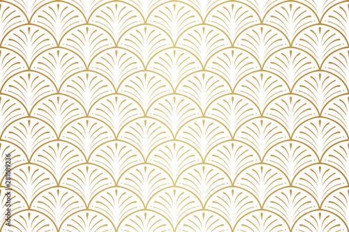 Elegant art nouveau seamless pattern. Abstract minimalist background. Geometr...