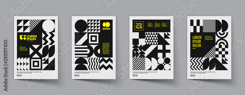 Obraz na plátne Minimal geometric posters set. Trendy design. Eps10 vector.
