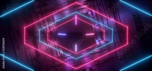 Fotografie, Obraz Neon Glowing Laser Purple Blue Futuristic Sci Fi Modern Retro Alien Spaceship Mo
