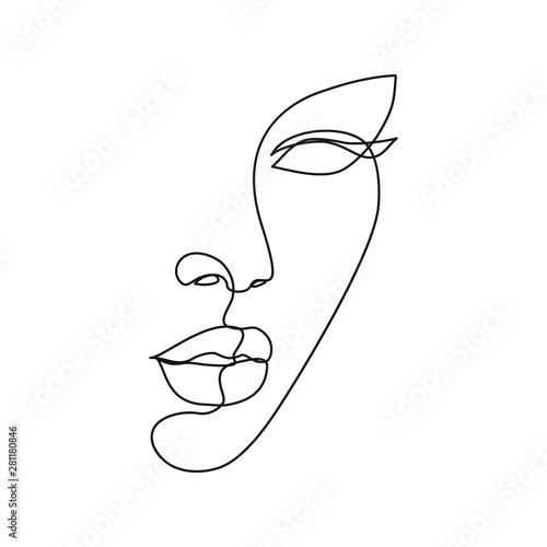 Carta da parati Woman face line drawing art