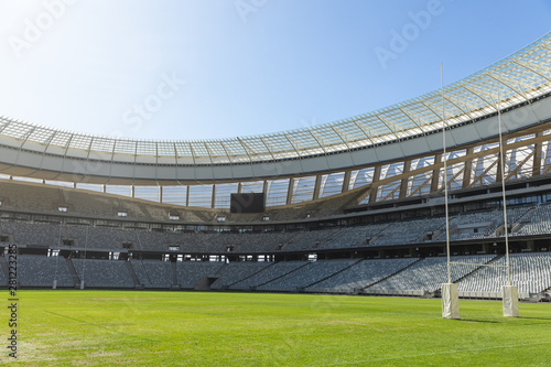 Rugby goal post on a sunny day in the stadium