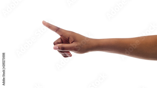 Canvas Print Afro woman's hand pointing finger at something, isolated on white