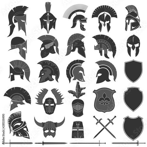Fotografia Spartan Helmet logo set, Greek warrior. Spartan warrior Helmet
