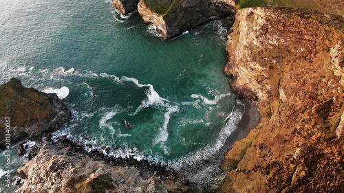 Obraz na płótnie Aerial view of Bassets cove, Cornwall, England