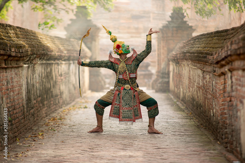 Wallpaper Mural Art culture Thailand Dancing in masked khon(Mime) in literature ramayana,Tos-Sa-Kan is character in thailand,A mime or mime artist is a person who uses mime as a performance art