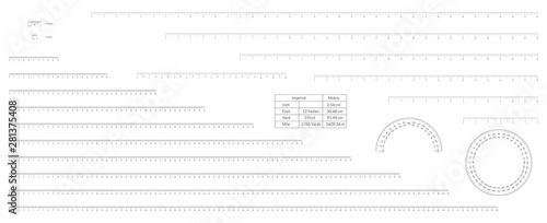 Photo Set of imperial and metric units measuring scale bars for ruler and protractor