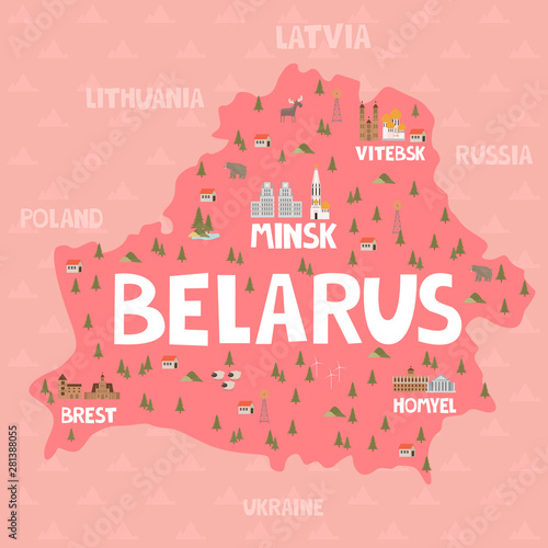 Canvas Print Illustration map of Belarus with city, landmarks and nature