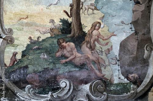 Fototapeta Adam and Eve in the Garden of Eden, fresco on the ceiling of the Saint John the
