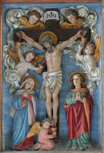 Photo Crucifixion, Virgin Mary and Saint John under the Cross, altar adoration of the