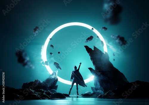 Fototapeta premium Pomiędzy koncepcją fantasy światów. Kobieta sięgająca do świecącej pętli światła. Futurystyczny portret kobiety 3d ilustracja.
