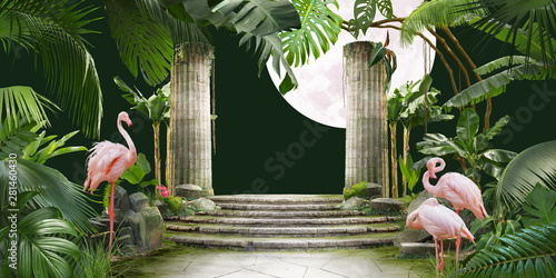 moon and flamingo background design with tropical palm and banana leaves, can be used as background, wallpaper