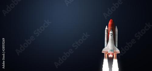 Fotografia Space shuttle on dark background
