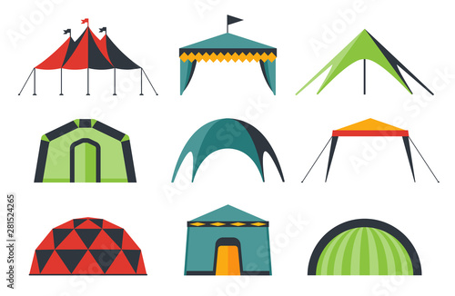 Set of various designs of tents for camping and pavilion tents Fototapete