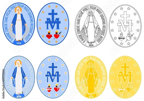 Stampa su Tela Our Lady of Grace medal colored and outline
