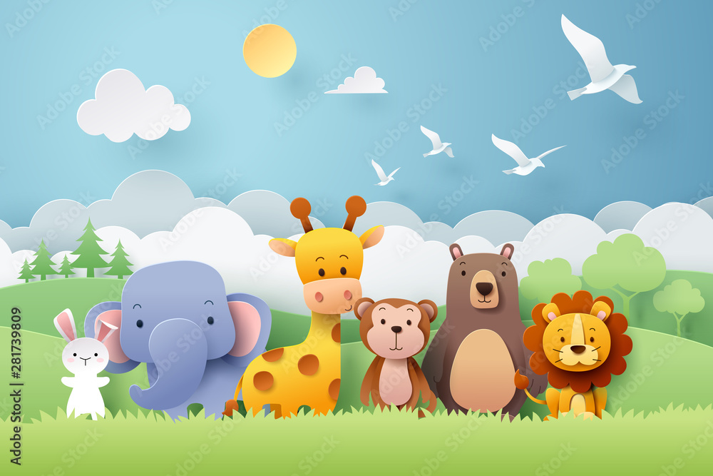 Paper craft of zoo animals and forest