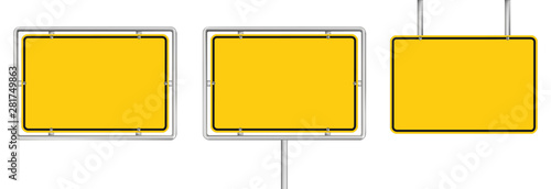 Fotografie, Obraz set of 3 blank yellow road sign isolated on white