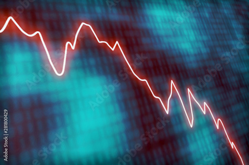 Illustrated concept wth a glowing red line graph decreasing at a fast rate Fototapeta