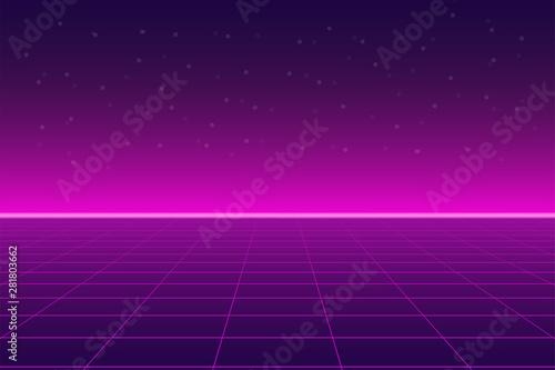 Foto Bright retro pink purple background futuristic landscape 1980s style