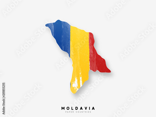 Photo Moldavia detailed map with flag of country