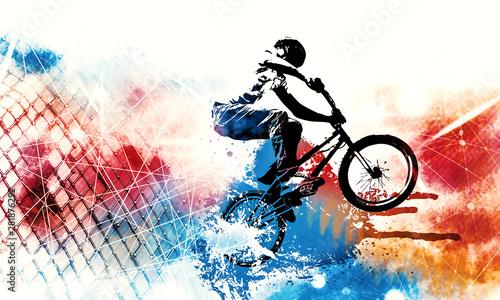 Fotografía Sport illustration of bmx rider