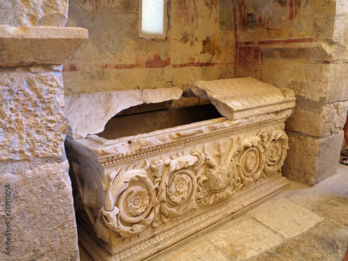 Photo Sarcophagus in the church of St. Nicholas in Demre Turkey
