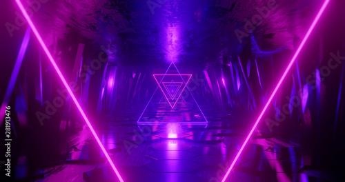 Fotografia 3d render abstract background, neon light beam, flight forward through tunnel corridor of rocks, light shape, outer space