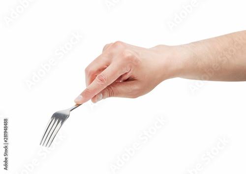 Fotografie, Obraz Man hand using a fork