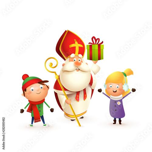 Saint Nicholas with kids girl and boy celebrate holidays - isolated on white bac Fototapeta