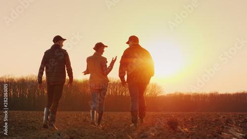 Fotografie, Obraz Three farmers go ahead on a plowed field at sunset