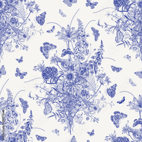 Obraz na płótnie Seamless vector pattern with Victorian bouquet and butterflies