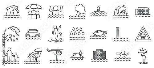 Fotografia, Obraz Flood cataclysm icons set