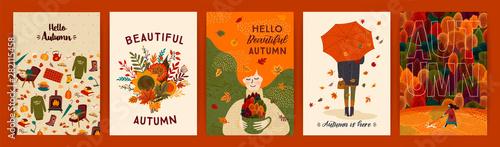 Fotografía Set of cute autumn illustrations