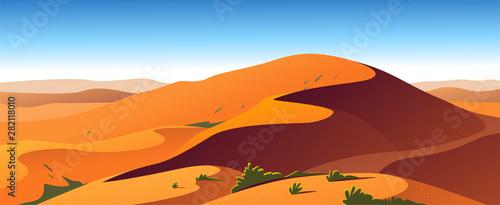 Fotografia Vector flat landscape minimalistic illustration of hot desert nature view: sky, dunes, sand, plants