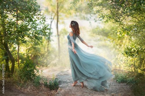 Billede på lærred fairy-tale princess in light summer blue turquoise dress on wide path and walks